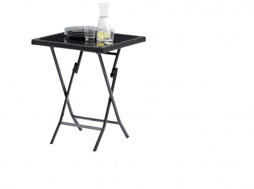 Table Kiosque Verre + Wicker Noir